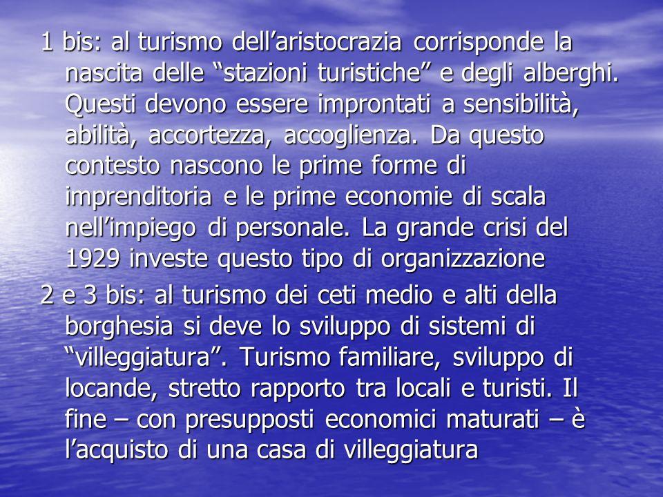 1 bis: al turismo dell'aristocrazia corrisponde la nascita delle stazioni turistiche e degli alberghi.