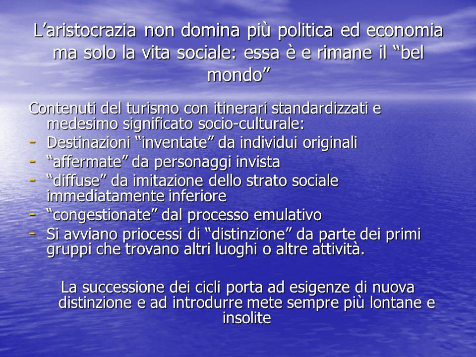 L'aristocrazia non domina più politica ed economia ma solo la vita sociale: essa è e rimane il bel mondo