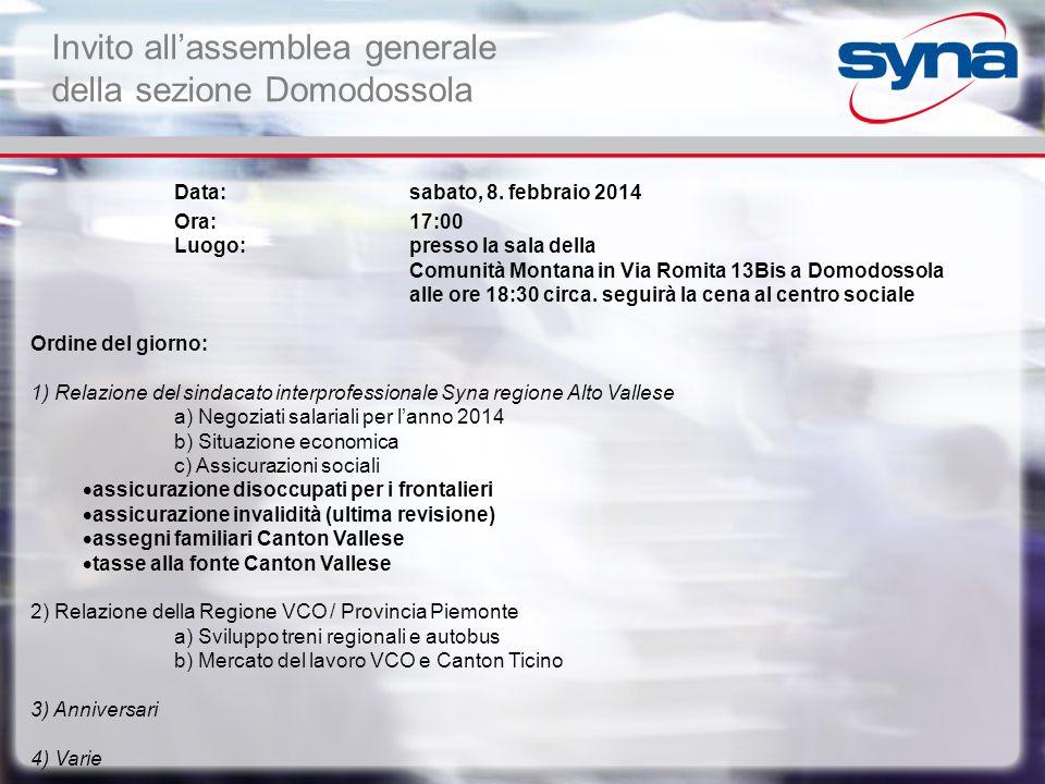 Invito all'assemblea generale della sezione Domodossola