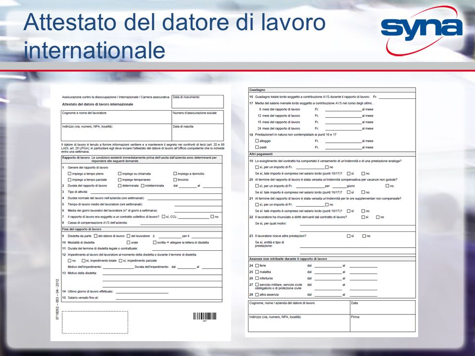 Attestato del datore di lavoro internationale