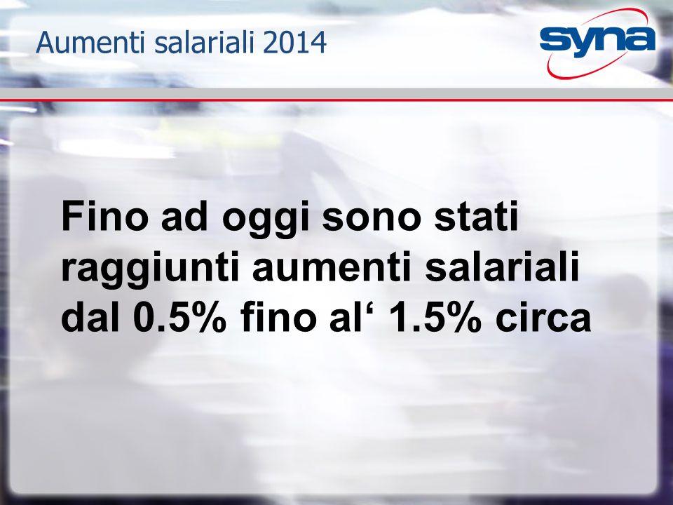 Aumenti salariali 2014 Fino ad oggi sono stati raggiunti aumenti salariali dal 0.5% fino al' 1.5% circa.