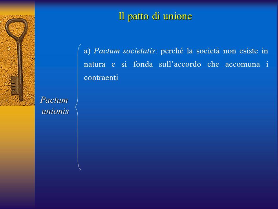 Il patto di unione Pactum unionis