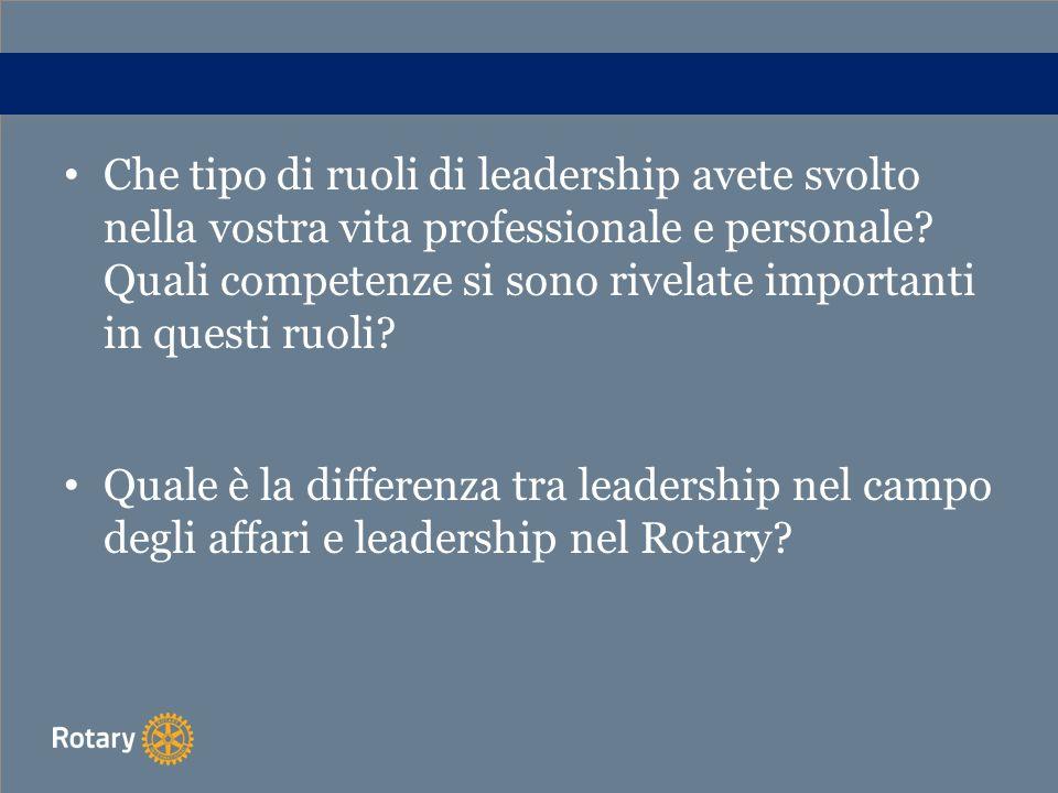 Che tipo di ruoli di leadership avete svolto nella vostra vita professionale e personale Quali competenze si sono rivelate importanti in questi ruoli