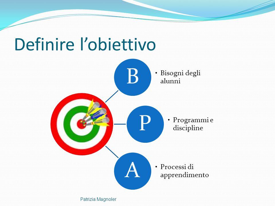 Definire l'obiettivo Patrizia Magnoler B Bisogni degli alunni P
