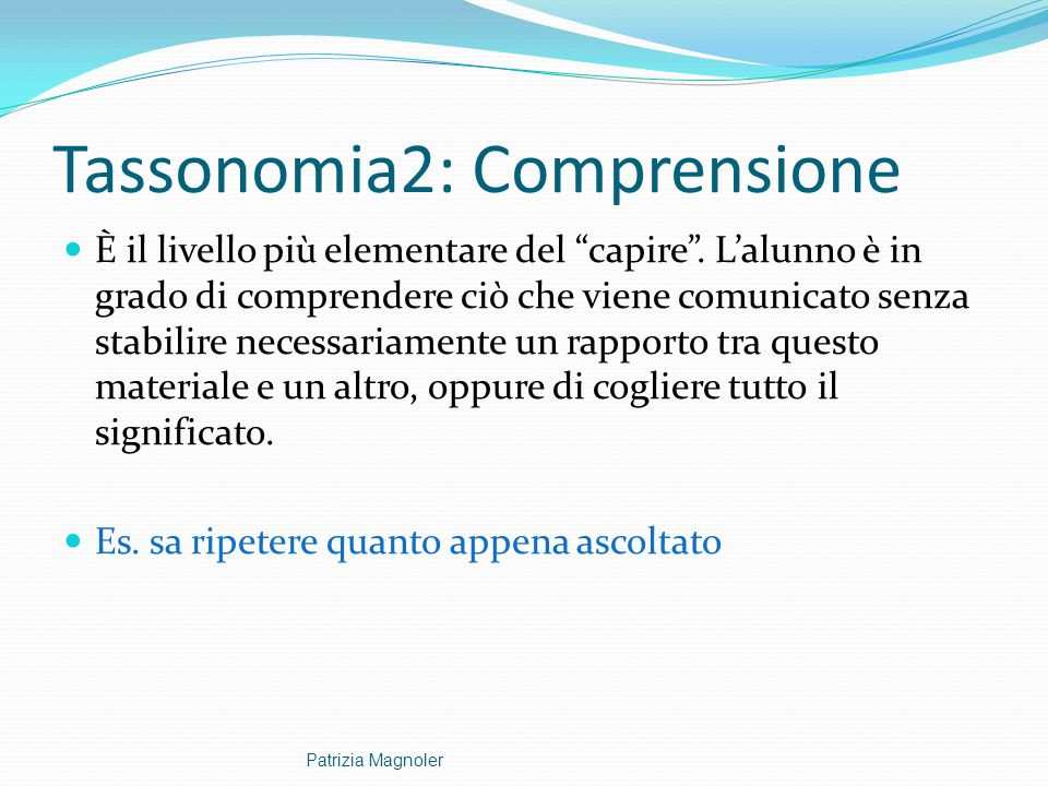 Tassonomia2: Comprensione