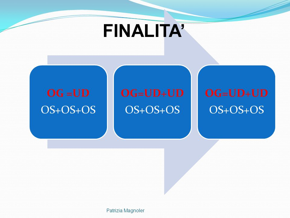 OS+OS+OS OG =UD OG=UD+UD FINALITA' Patrizia Magnoler