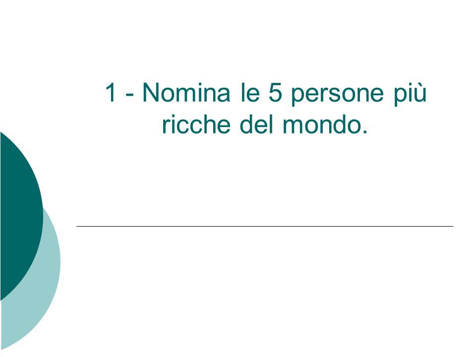 1 - Nomina le 5 persone più ricche del mondo.
