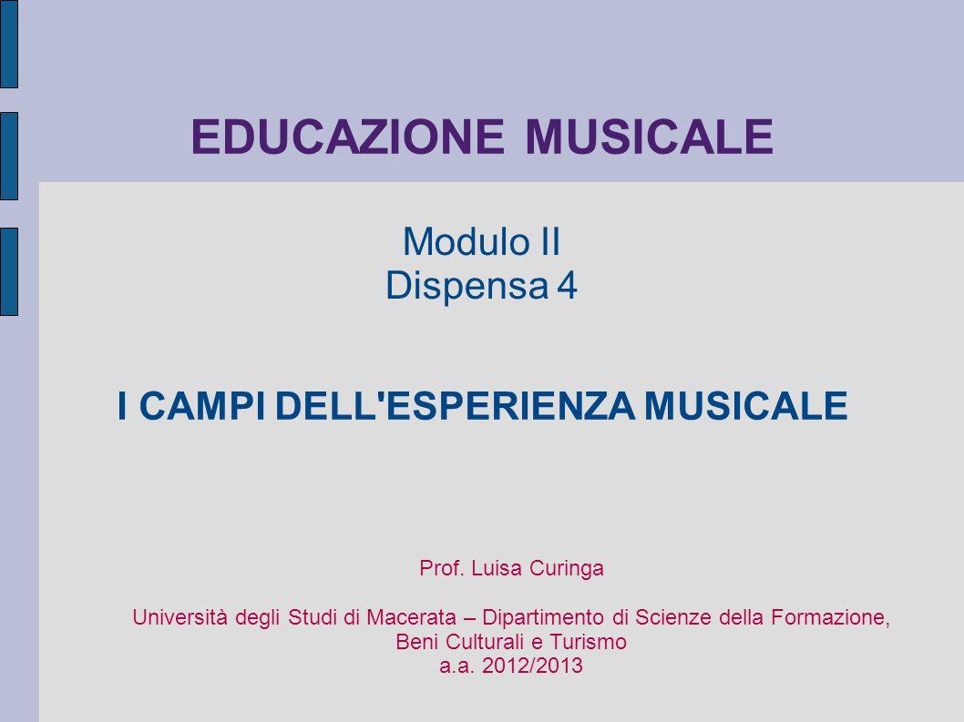 I CAMPI DELL ESPERIENZA MUSICALE