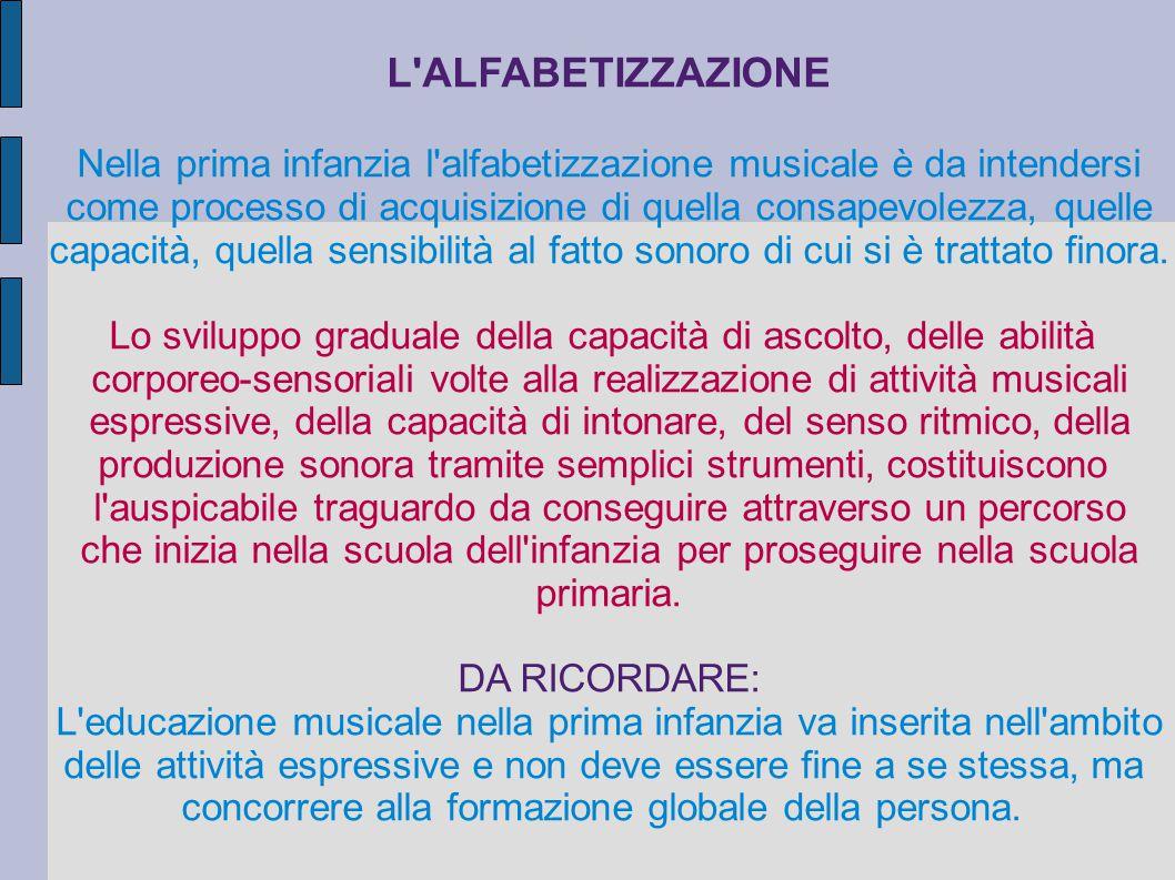 L ALFABETIZZAZIONE Nella prima infanzia l alfabetizzazione musicale è da intendersi. come processo di acquisizione di quella consapevolezza, quelle.