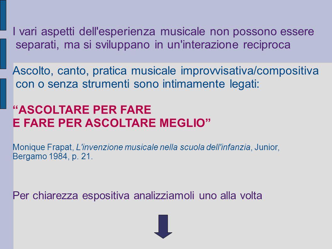 I vari aspetti dell esperienza musicale non possono essere