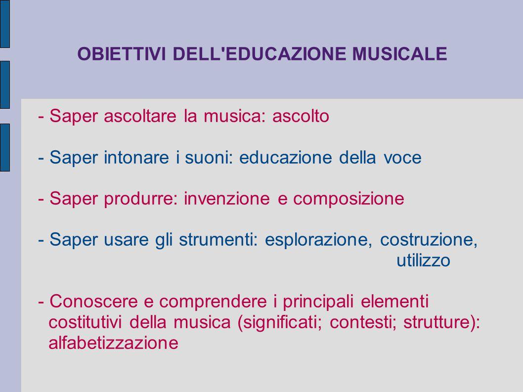 OBIETTIVI DELL EDUCAZIONE MUSICALE