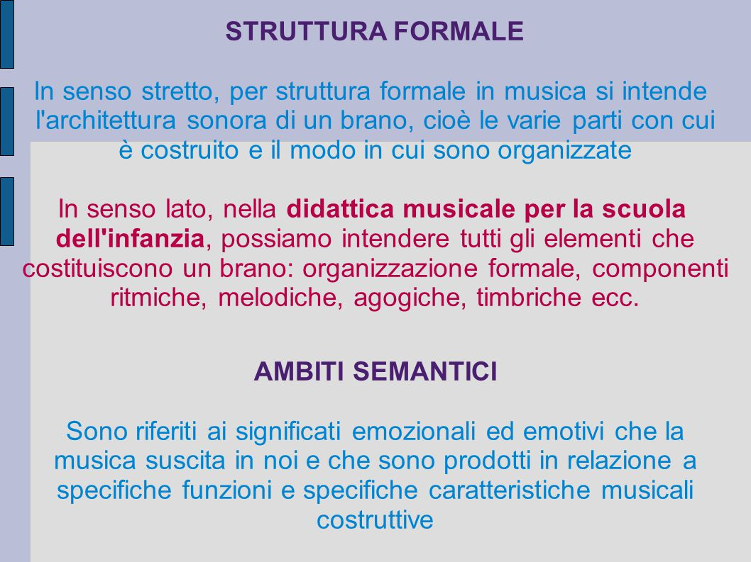 STRUTTURA FORMALE AMBITI SEMANTICI