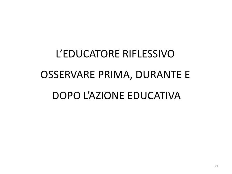 L'EDUCATORE RIFLESSIVO OSSERVARE PRIMA, DURANTE E