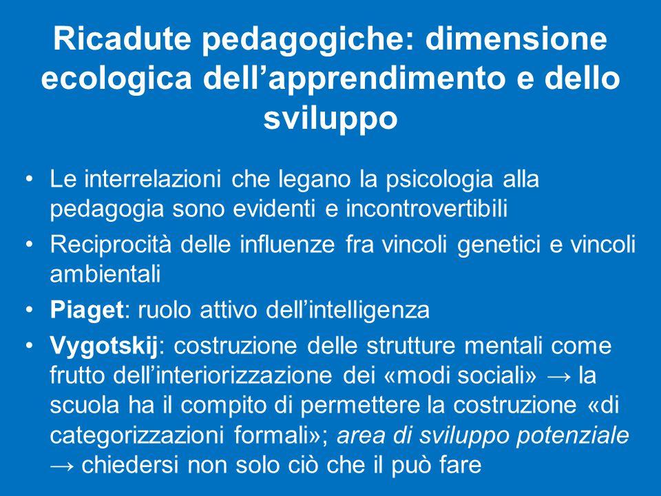 Ricadute pedagogiche: dimensione ecologica dell'apprendimento e dello sviluppo