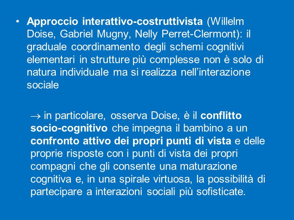 Approccio interattivo-costruttivista (Willelm Doise, Gabriel Mugny, Nelly Perret-Clermont): il graduale coordinamento degli schemi cognitivi elementari in strutture più complesse non è solo di natura individuale ma si realizza nell'interazione sociale