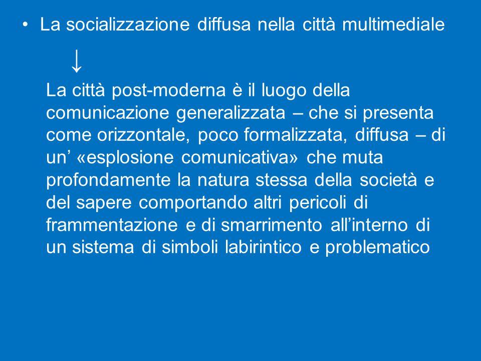 ↓ La socializzazione diffusa nella città multimediale