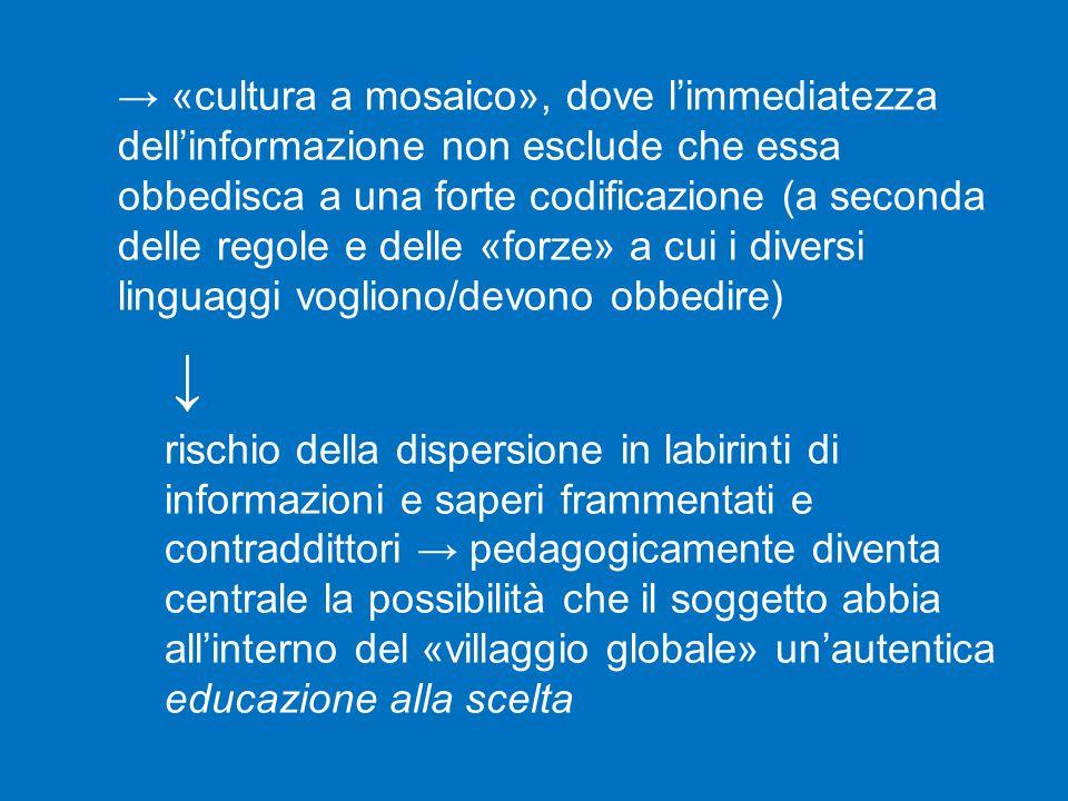 → «cultura a mosaico», dove l'immediatezza dell'informazione non esclude che essa obbedisca a una forte codificazione (a seconda delle regole e delle «forze» a cui i diversi linguaggi vogliono/devono obbedire)