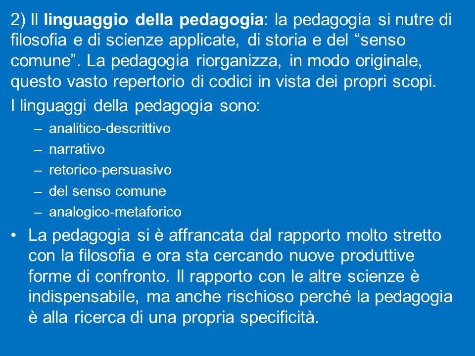 I linguaggi della pedagogia sono:
