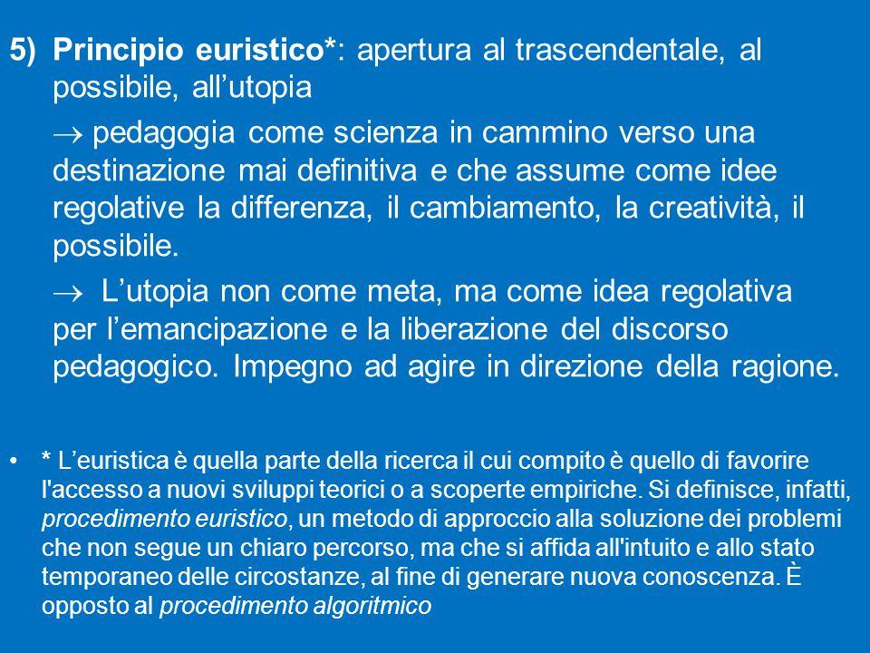 Principio euristico*: apertura al trascendentale, al possibile, all'utopia