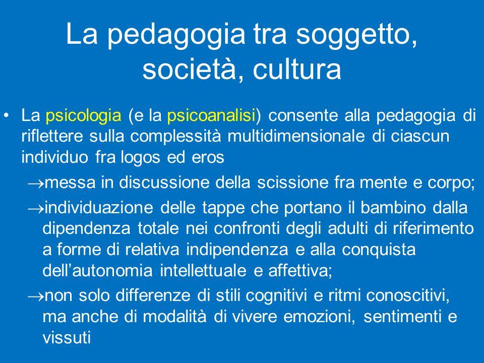 La pedagogia tra soggetto, società, cultura