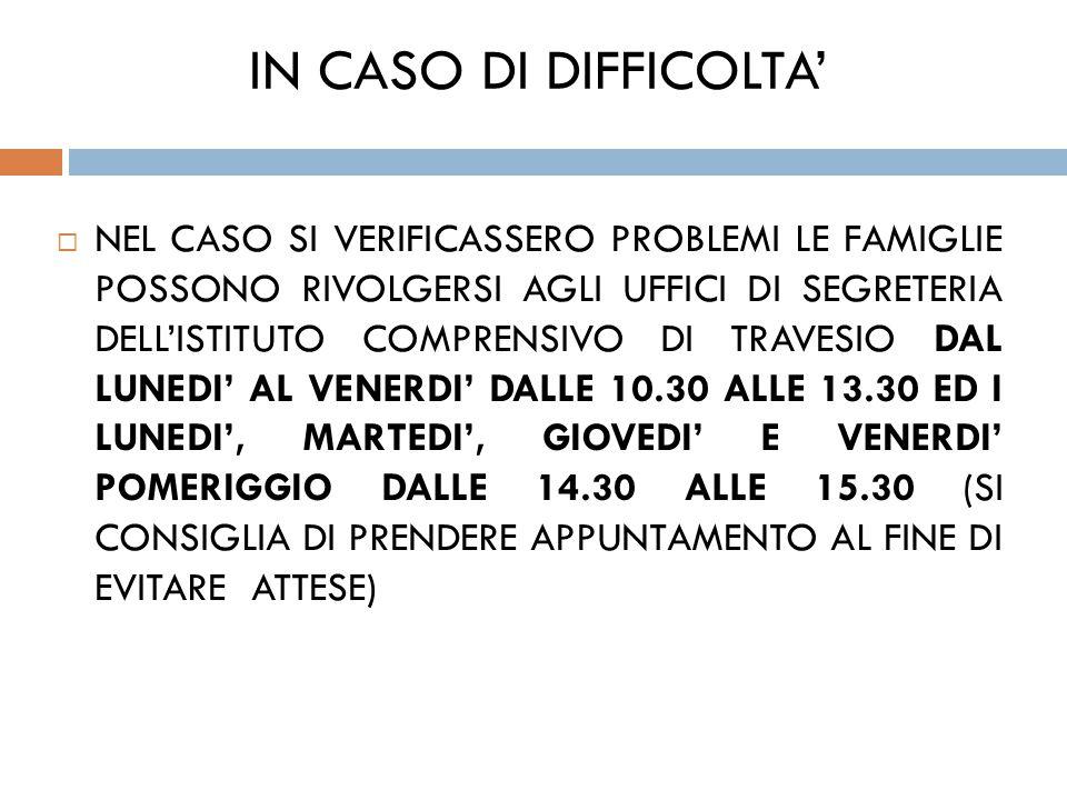 IN CASO DI DIFFICOLTA'
