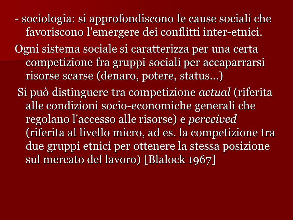 - sociologia: si approfondiscono le cause sociali che favoriscono l emergere dei conflitti inter-etnici.