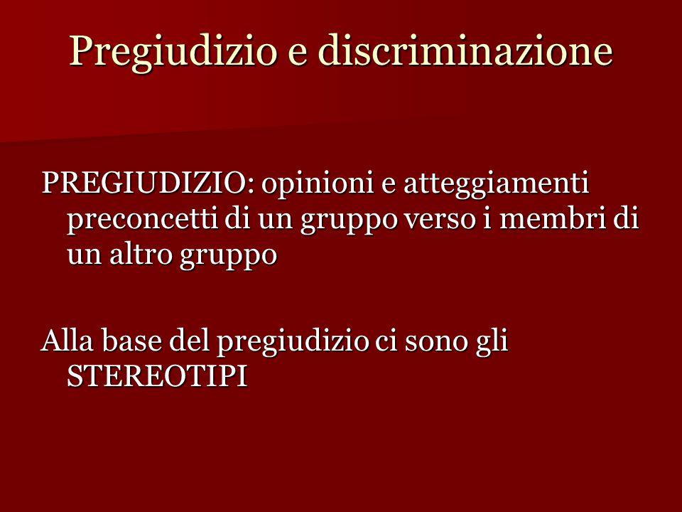 Pregiudizio e discriminazione