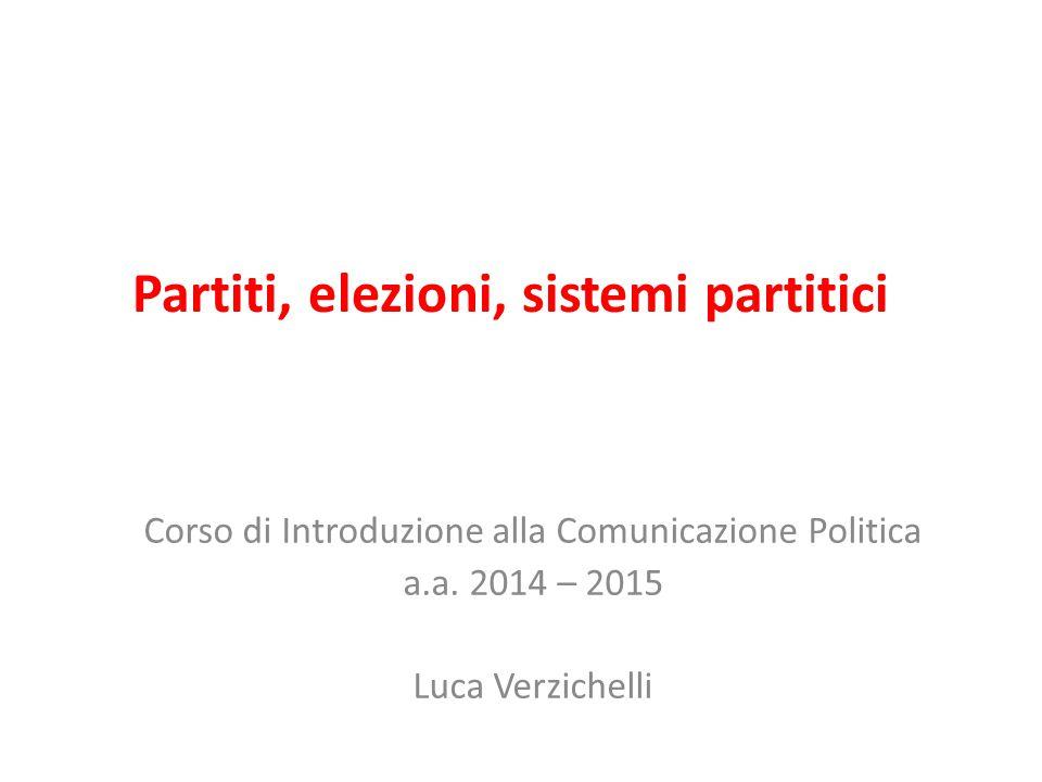 Partiti, elezioni, sistemi partitici