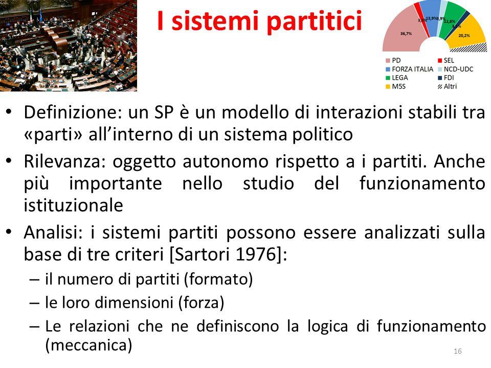 I sistemi partitici Definizione: un SP è un modello di interazioni stabili tra «parti» all'interno di un sistema politico.