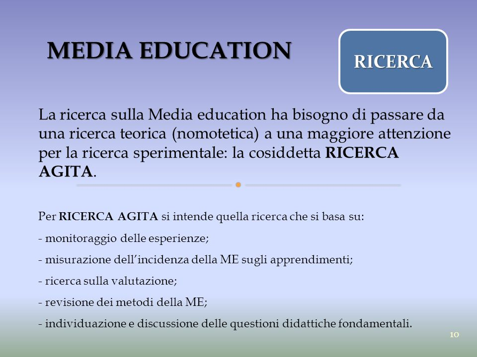 MEDIA EDUCATION RICERCA