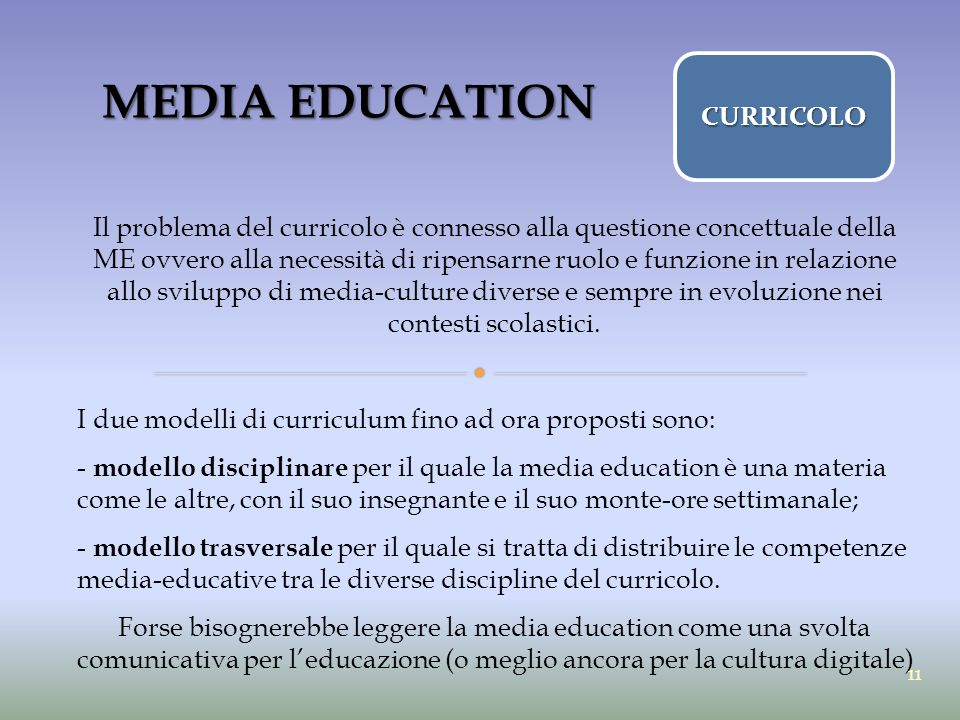 MEDIA EDUCATION CURRICOLO