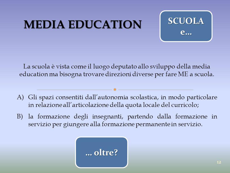 MEDIA EDUCATION SCUOLA e… … oltre