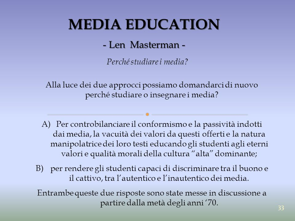 MEDIA EDUCATION - Len Masterman - Perché studiare i media