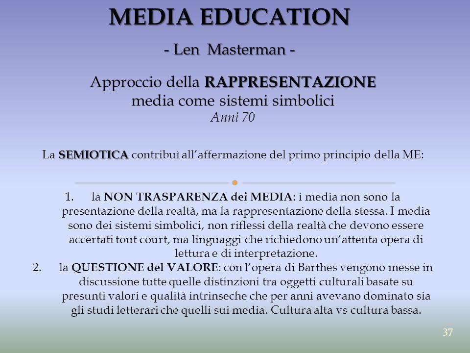 MEDIA EDUCATION - Len Masterman - Approccio della RAPPRESENTAZIONE