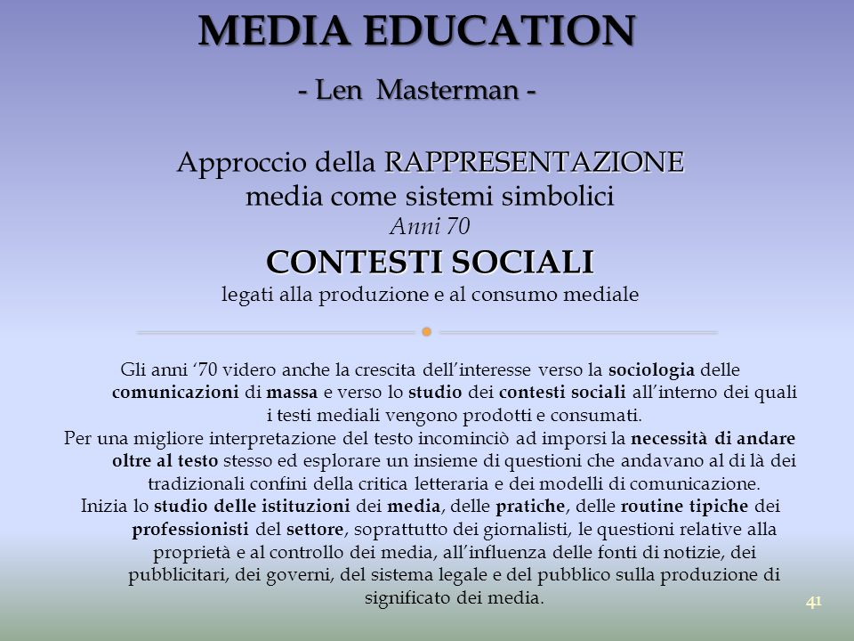 MEDIA EDUCATION CONTESTI SOCIALI - Len Masterman -