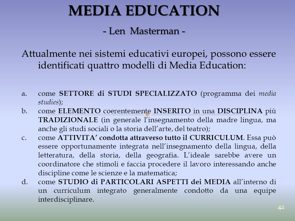 MEDIA EDUCATION - Len Masterman -