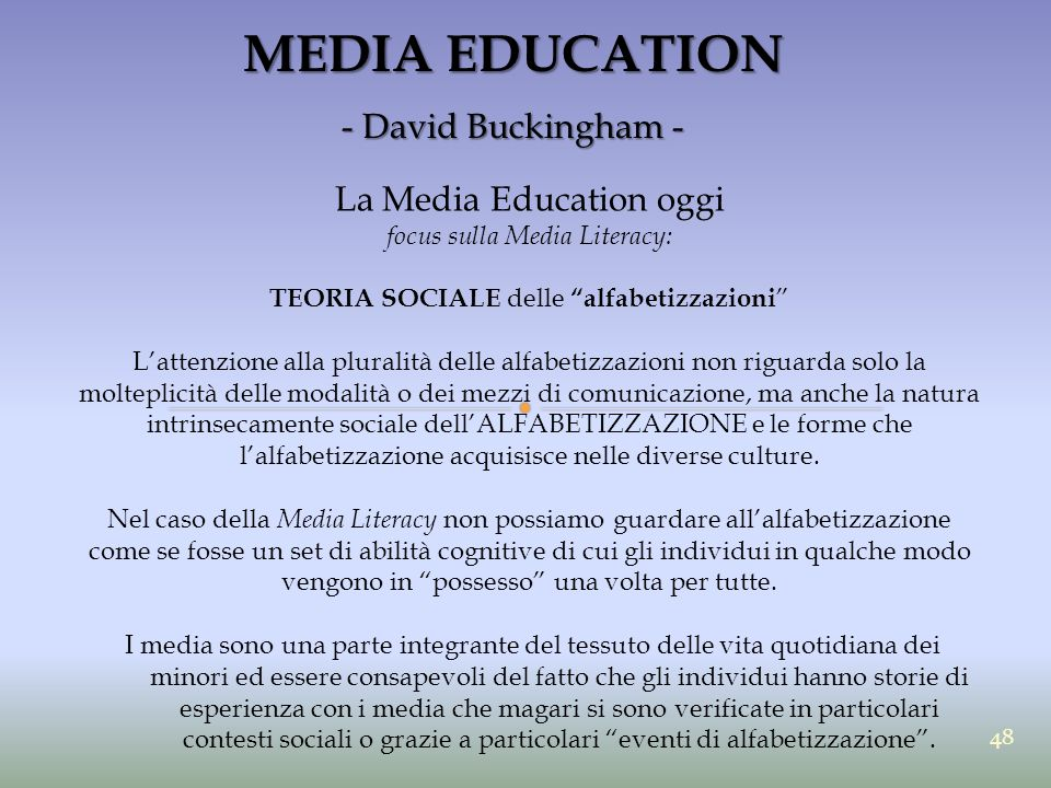 MEDIA EDUCATION - David Buckingham - La Media Education oggi