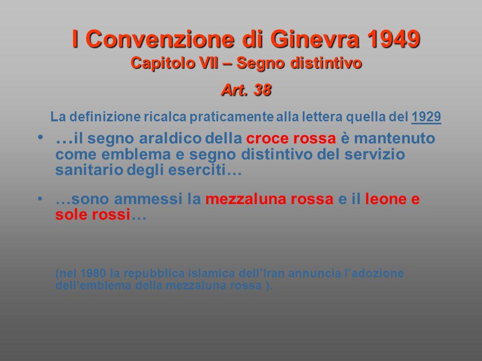 I Convenzione di Ginevra 1949 Capitolo VII – Segno distintivo Art