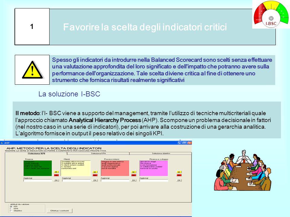 Favorire la scelta degli indicatori critici