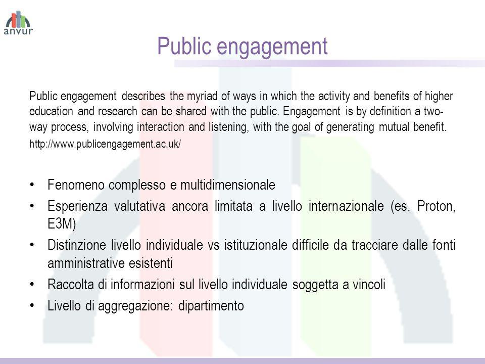 Public engagement Fenomeno complesso e multidimensionale
