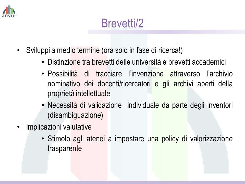 Brevetti/2 Sviluppi a medio termine (ora solo in fase di ricerca!)