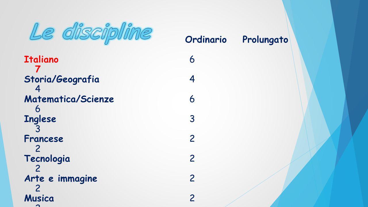Le discipline Italiano 6 7 Storia/Geografia 4 4 Matematica/Scienze 6 6