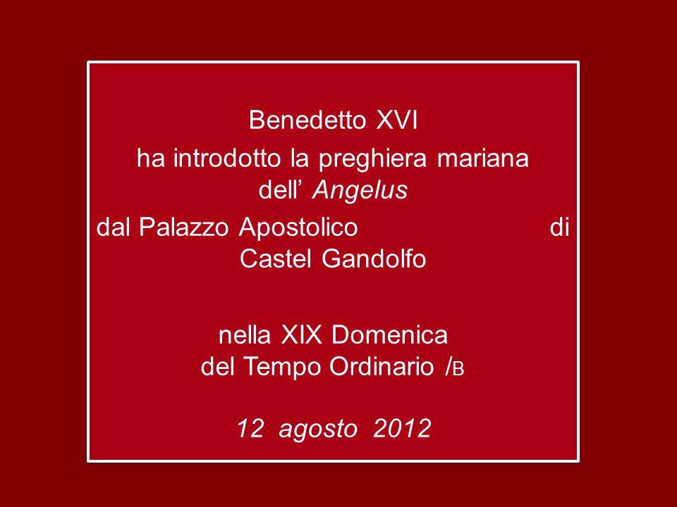 Benedetto XVI ha introdotto la preghiera mariana dell' Angelus dal Palazzo Apostolico di Castel Gandolfo nella XIX Domenica del Tempo Ordinario /B 12 agosto 2012