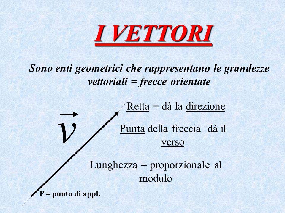 I VETTORI Sono enti geometrici che rappresentano le grandezze vettoriali = frecce orientate. Retta = dà la direzione.