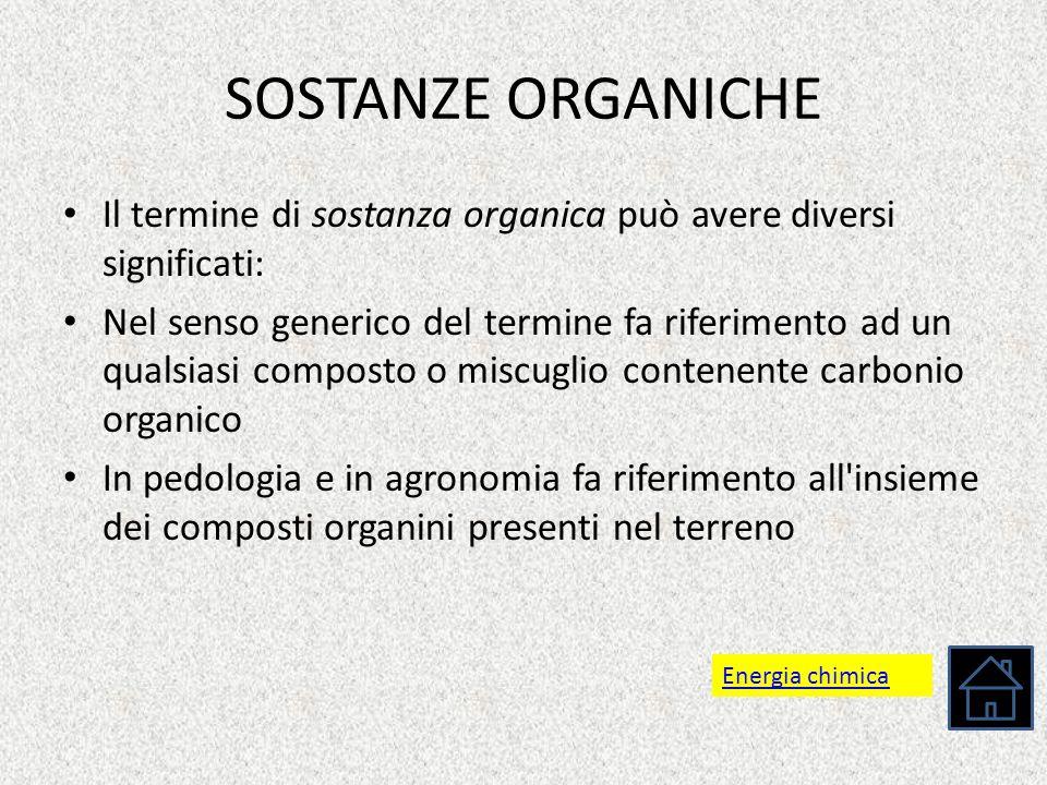 SOSTANZE ORGANICHE Il termine di sostanza organica può avere diversi significati: