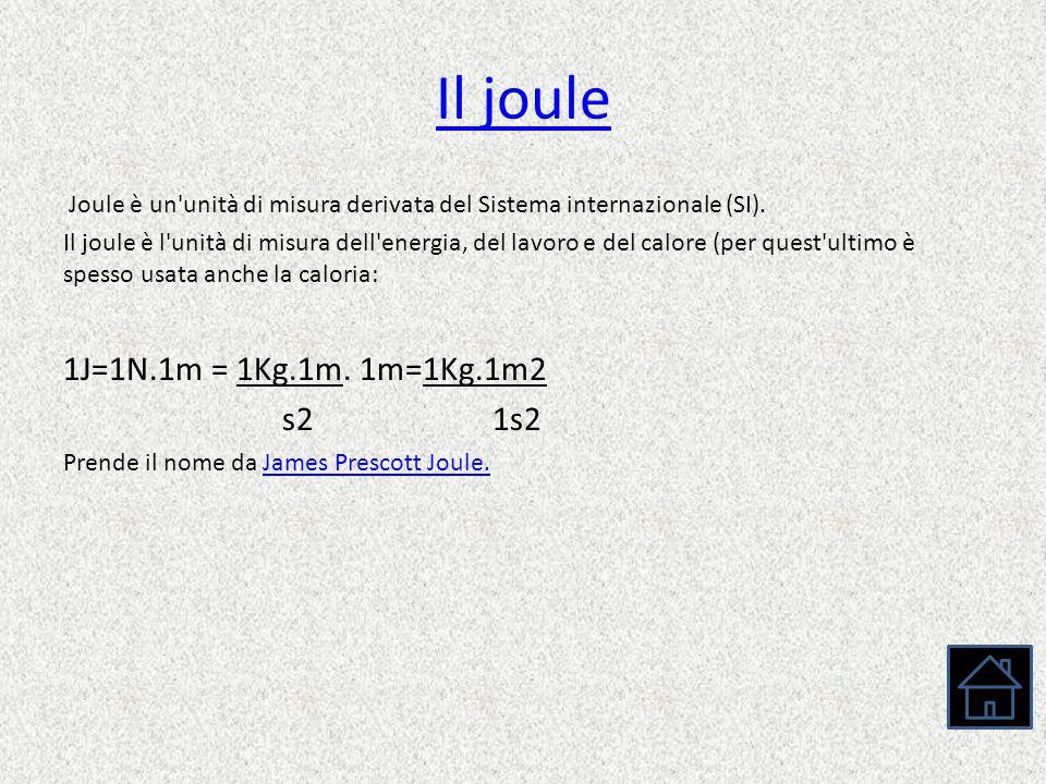 Il joule 1J=1N.1m = 1Kg.1m. 1m=1Kg.1m2 s2 1s2