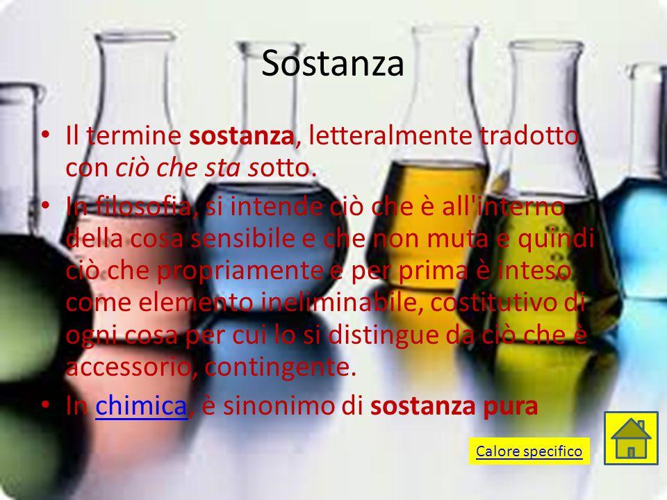 Sostanza Il termine sostanza, letteralmente tradotto con ciò che sta sotto.
