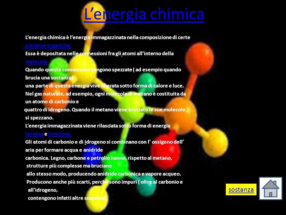 L'energia chimica sostanza