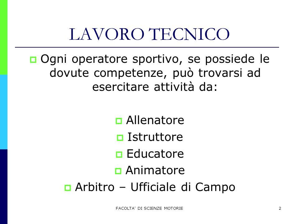 LAVORO TECNICO Ogni operatore sportivo, se possiede le dovute competenze, può trovarsi ad esercitare attività da: