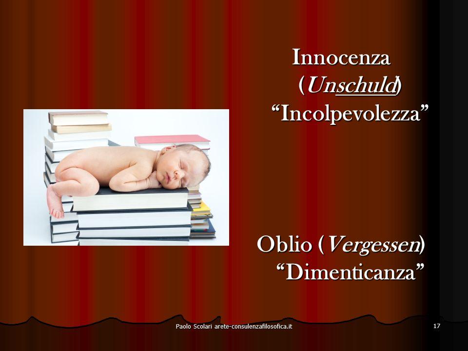 Innocenza (Unschuld) Incolpevolezza Oblio (Vergessen) Dimenticanza